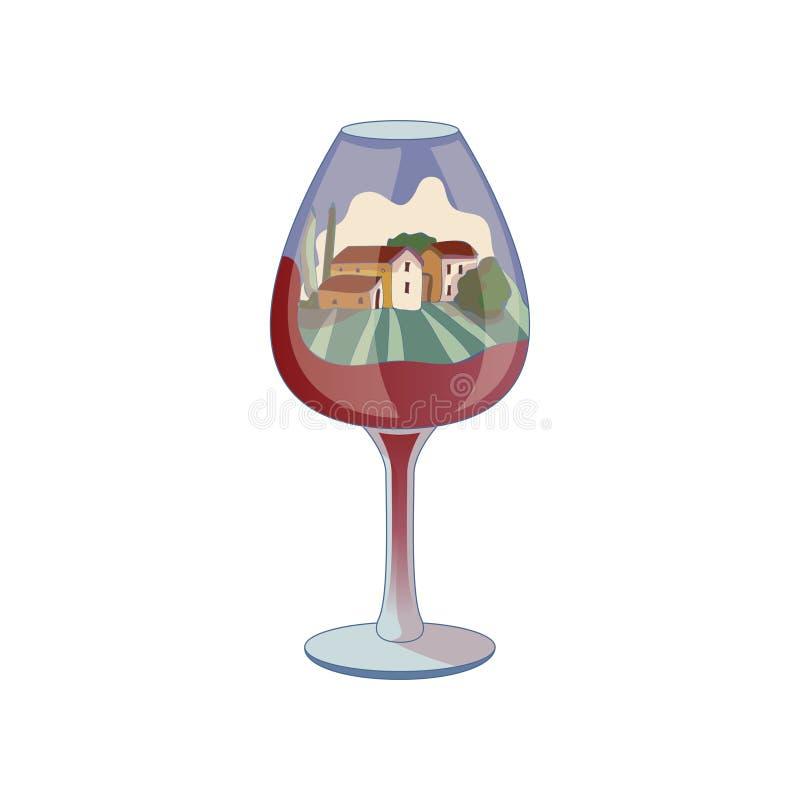 Paesaggio con le case dentro un vetro di vino Illustrazione di vettore su priorit? bassa bianca royalty illustrazione gratis