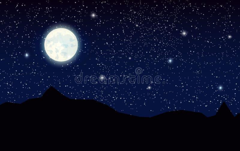 Paesaggio con le montagne e la luna piena della siluetta illustrazione di stock