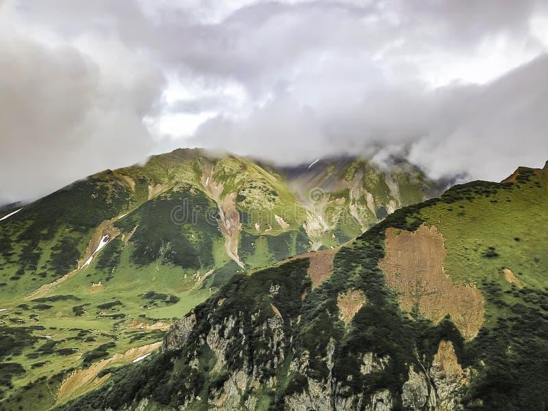 Paesaggio con le pianure verdi sulla penisola di Kamchatka, Russia immagine stock libera da diritti