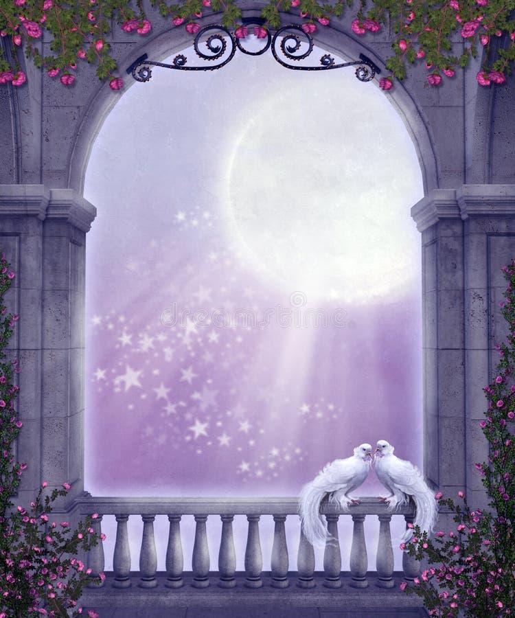 Paesaggio con le rose 3 illustrazione vettoriale