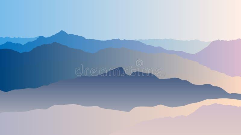 Paesaggio con le siluette blu delle montagne illustrazione di stock