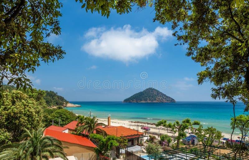 Paesaggio con lo stupore della spiaggia di Paradise fotografia stock
