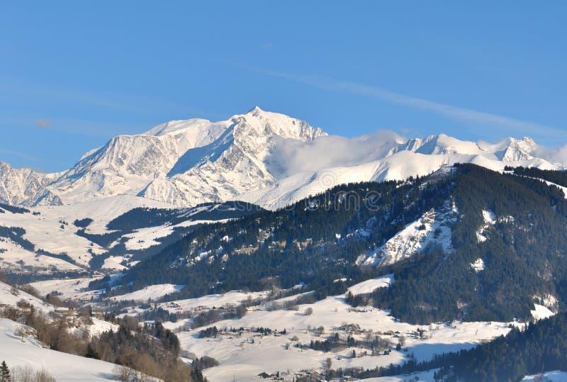 Paesaggio con Mont Blanc fotografie stock libere da diritti