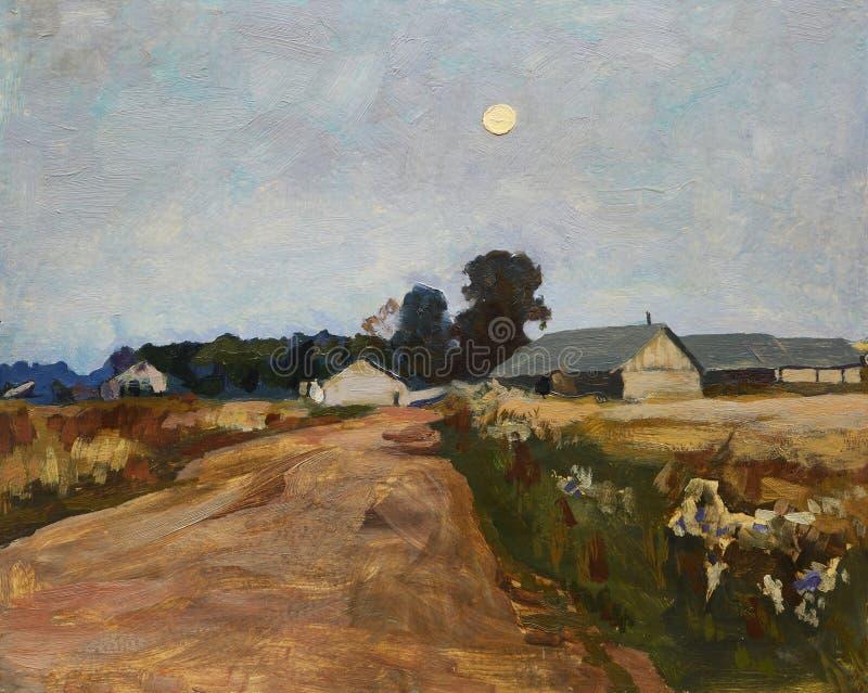 Paesaggio con sorgere della luna sopra la strada campestre ed il villaggio royalty illustrazione gratis