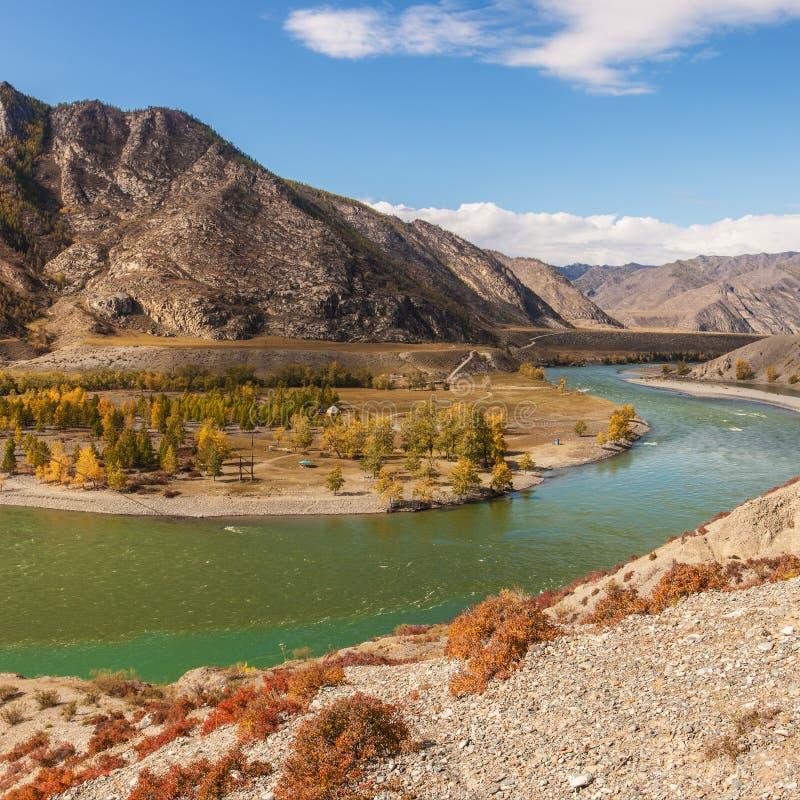 Paesaggio con un fiume della montagna immagine stock