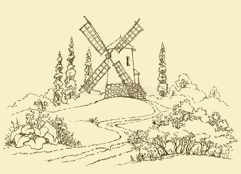 Paesaggio con un laminatoio illustrazione vettoriale