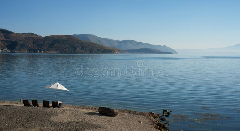 Paesaggio costiero del lago di erhai fotografia stock