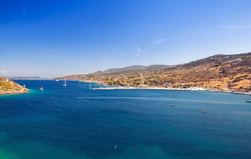Paesaggio costiero panoramico, Agios Nikolaos immagini stock libere da diritti
