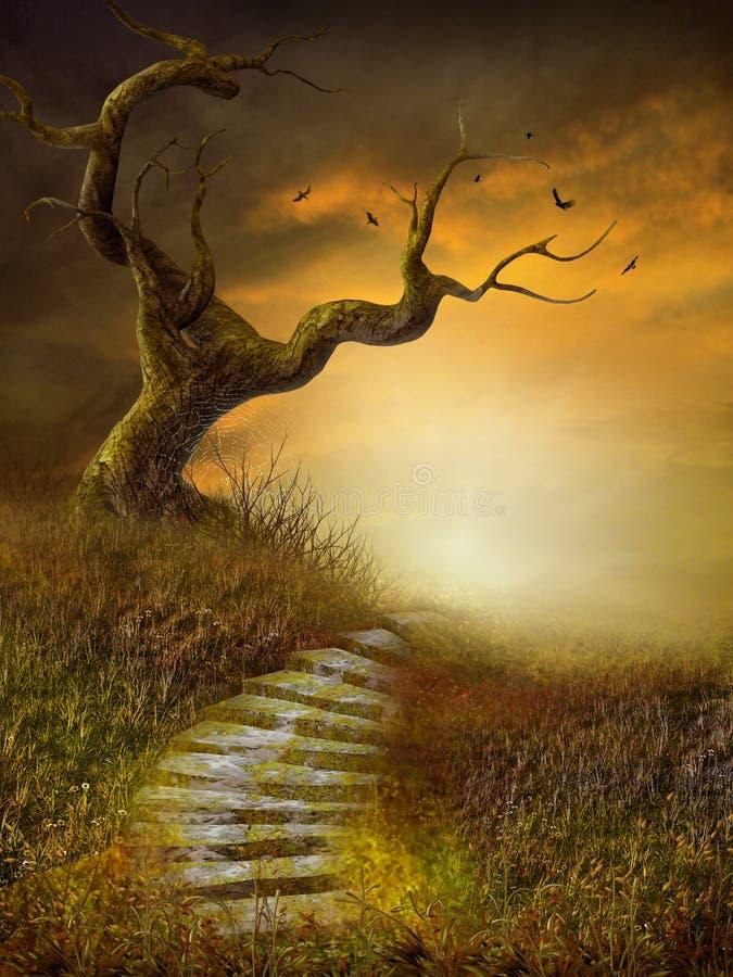 Paesaggio d'autunno con le scale illustrazione vettoriale