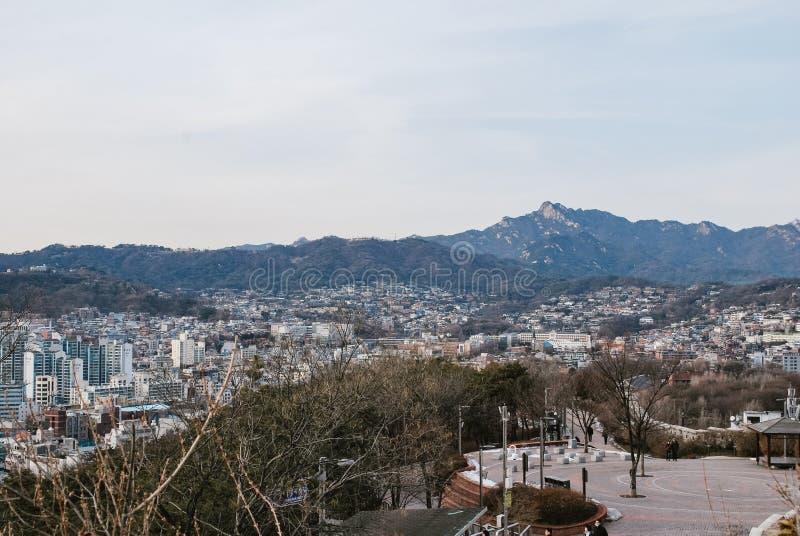 paesaggio dalla vista della collina alla Corea del Sud durante l'inverno fotografia stock libera da diritti