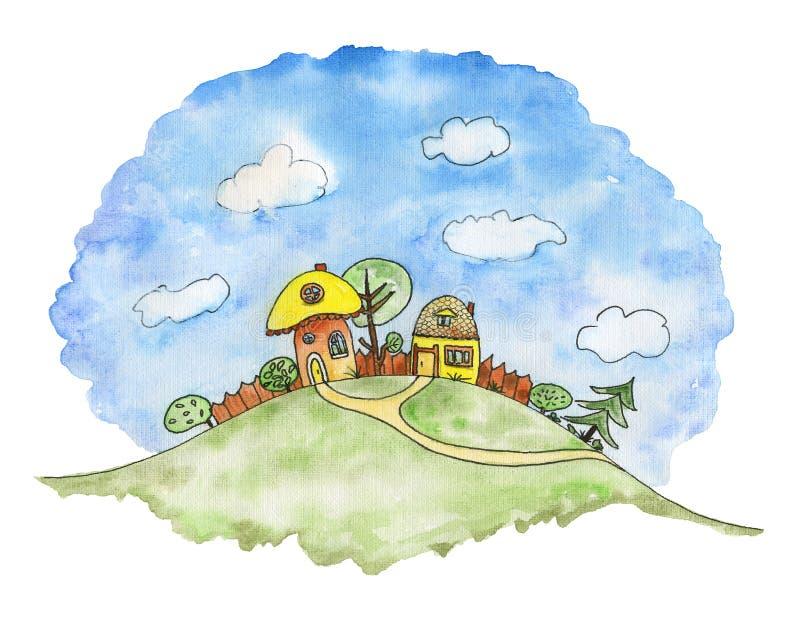 Paesaggio del artoon del ¡ di Ð con due case su una collina verde acquerello i illustrazione di stock