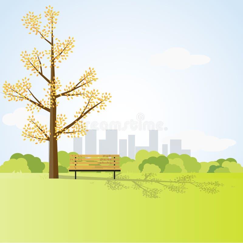 Paesaggio del campo con il grandi albero e banco illustrazione di stock