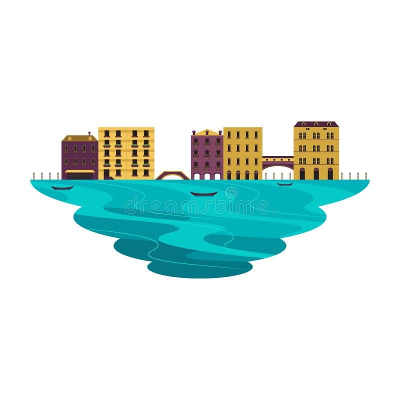 Paesaggio del canale di scena della destinazione di viaggio di Venezia illustrazione di stock