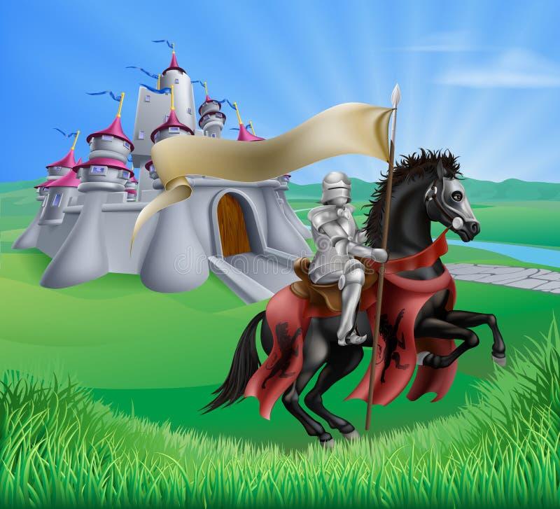 Paesaggio del cavaliere e del castello illustrazione vettoriale