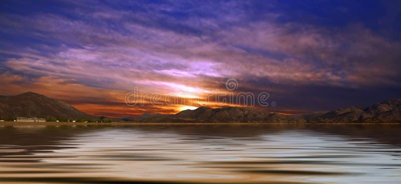 Paesaggio del deserto con acqua fotografia stock libera da diritti
