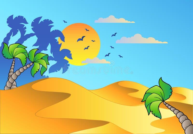 Paesaggio del deserto del fumetto illustrazione di stock