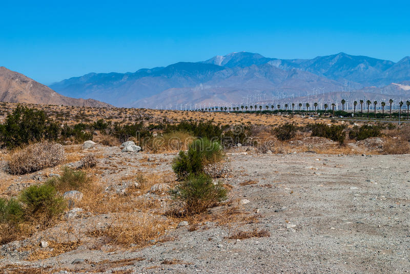 Paesaggio del deserto del mulino a vento immagini stock libere da diritti