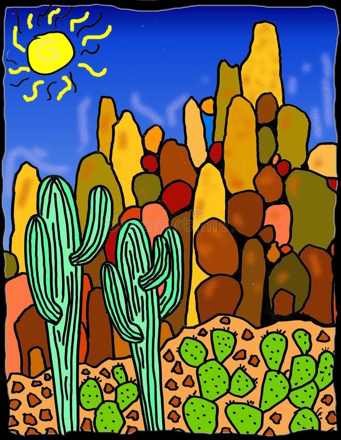 Paesaggio del deserto del Saguaro royalty illustrazione gratis