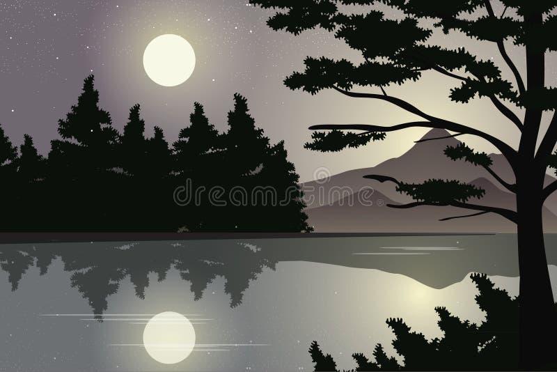 Paesaggio del fiume con luce della luna nella notte stellata, illustrazione di vettore royalty illustrazione gratis