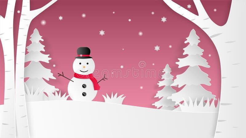 Paesaggio del fondo di inverno di Natale con il pupazzo di neve felice sul campo di neve nello stile tagliato di carta Illustrazi royalty illustrazione gratis