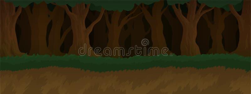 Paesaggio del fumetto con la foresta scura spettrale antica illustrazione di stock
