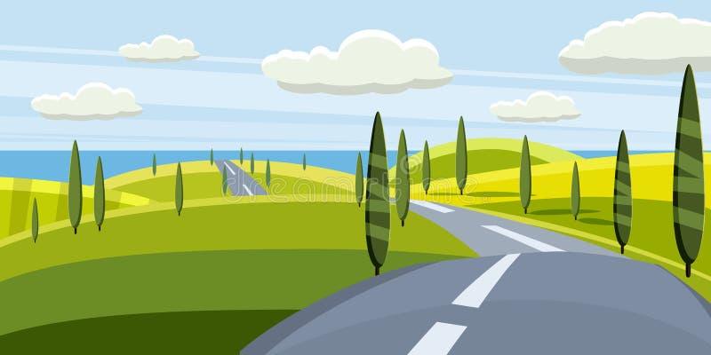Paesaggio del fumetto con la strada, higway e l'estate, mare, sole, alberi Viaggio, vacanza, viaggio Illustrazione di vettore, is