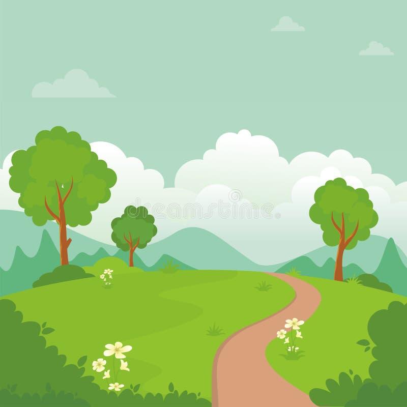 Paesaggio del fumetto, con progettazione adorabile e sveglia di paesaggio royalty illustrazione gratis
