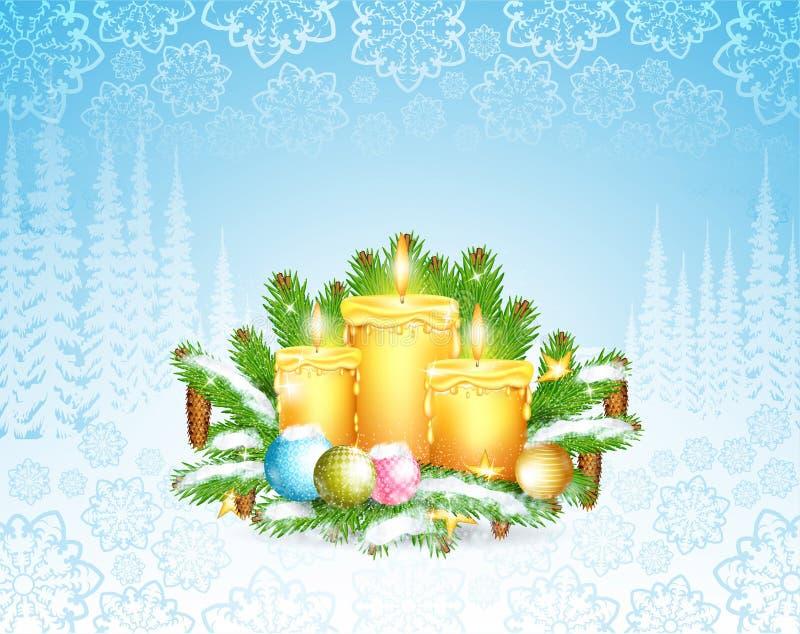 Paesaggio del gelo invernale con tre candels sul ramo di albero dell'abete Fondo orizzontale di Natale royalty illustrazione gratis