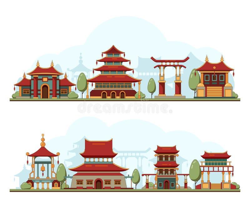 Paesaggio del Giappone Illustrazione culturale del fondo di vettore del palazzo della pagoda del modello di architettura delle co illustrazione vettoriale