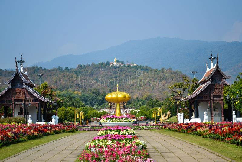 Paesaggio del giardino botanico, parco reale Rajapruek a Chiangmai, Thailandia fotografie stock