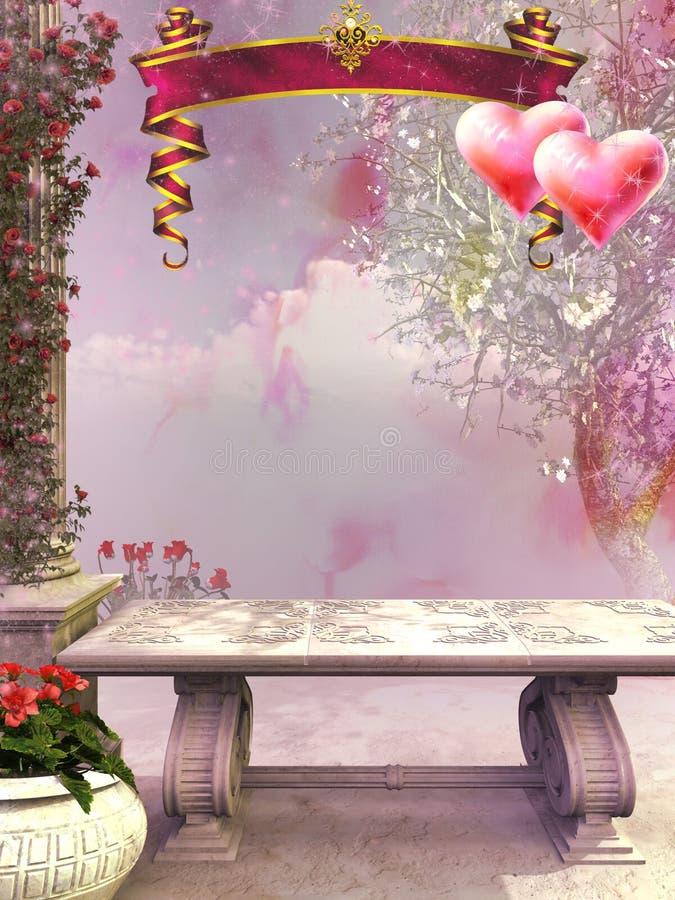 Paesaggio del giardino con i motivi di giorno di biglietti di S. Valentino illustrazione vettoriale