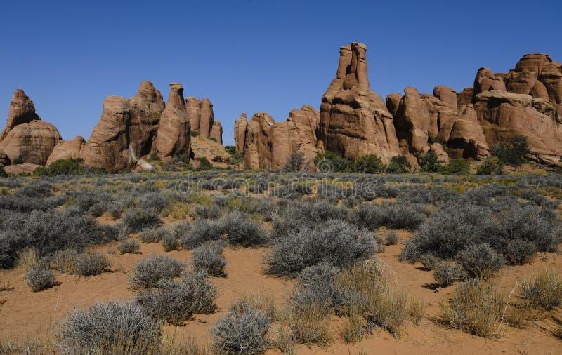Paesaggio del giardino dei diavoli - formazione rocciosa del mucchio dell'alberino fotografia stock libera da diritti