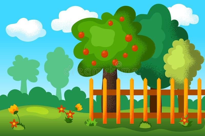 Paesaggio del giardino di estate con i fiori e di melo Illustrazione all'aperto ottimista di vettore della natura nello stile del royalty illustrazione gratis