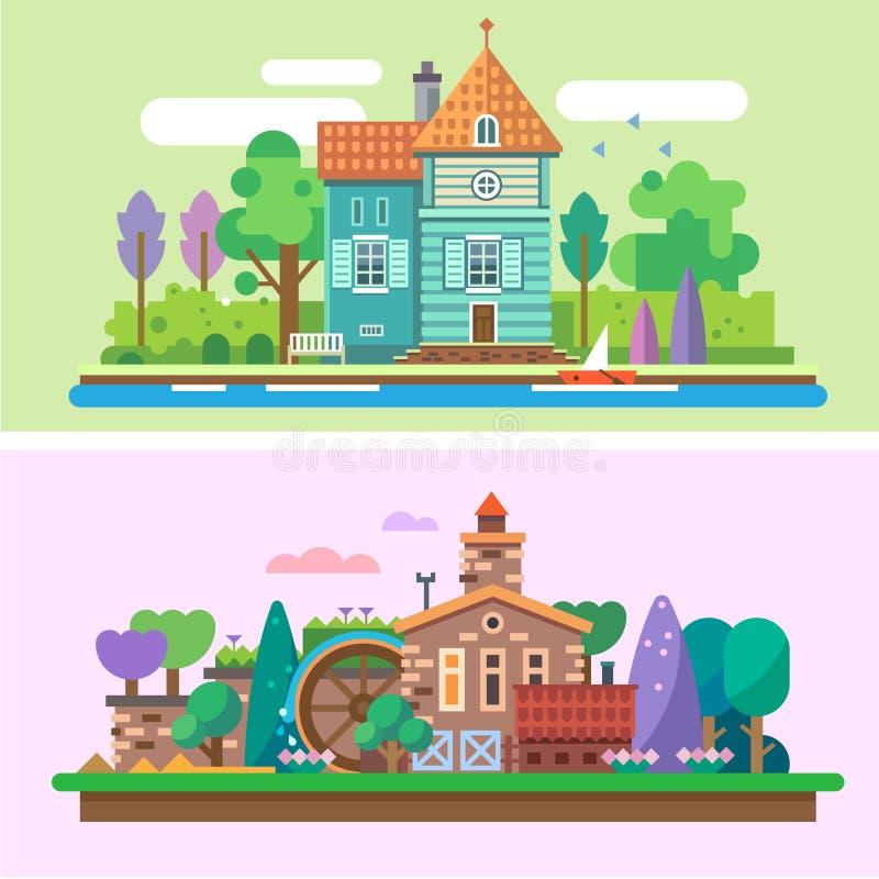 Paesaggio del giardino di estate di sera e di giorno royalty illustrazione gratis