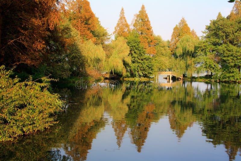 Paesaggio del lago ad ovest. Hangzhou. La Cina. immagini stock libere da diritti