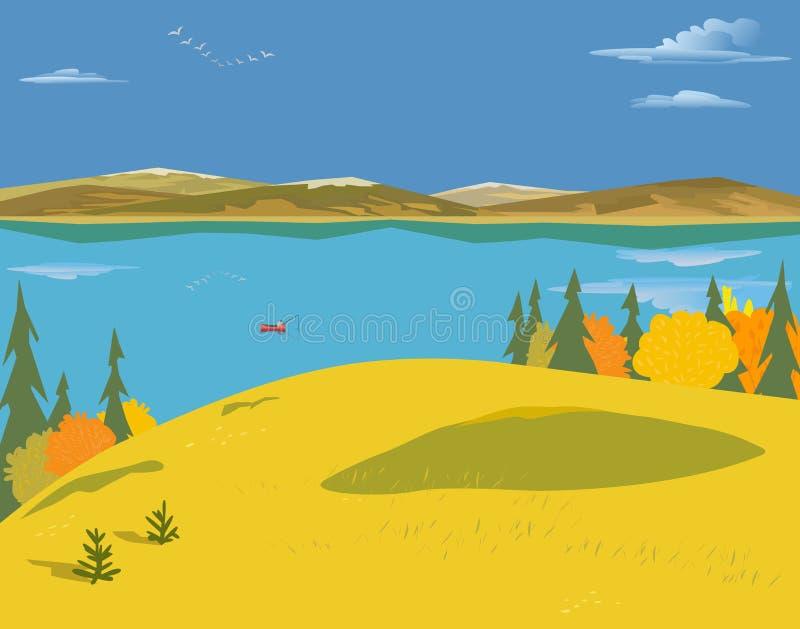 Paesaggio del lago autumn illustrazione di stock