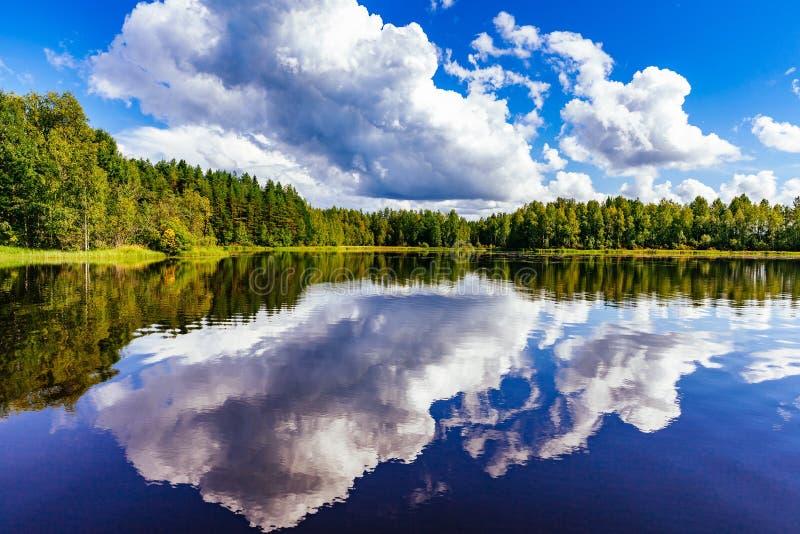 Paesaggio del lago finland ad estate fotografie stock