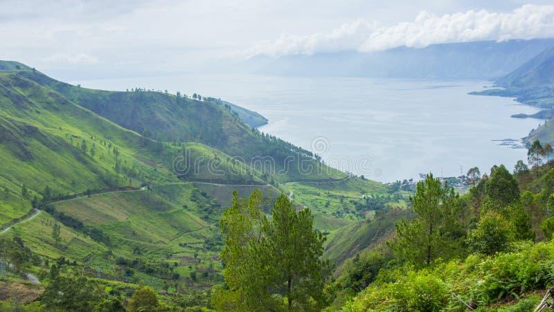 Paesaggio del lago Toba fotografie stock