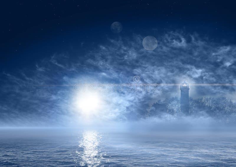 Paesaggio del mare di notte del mondo di fantasia illustrazione di stock