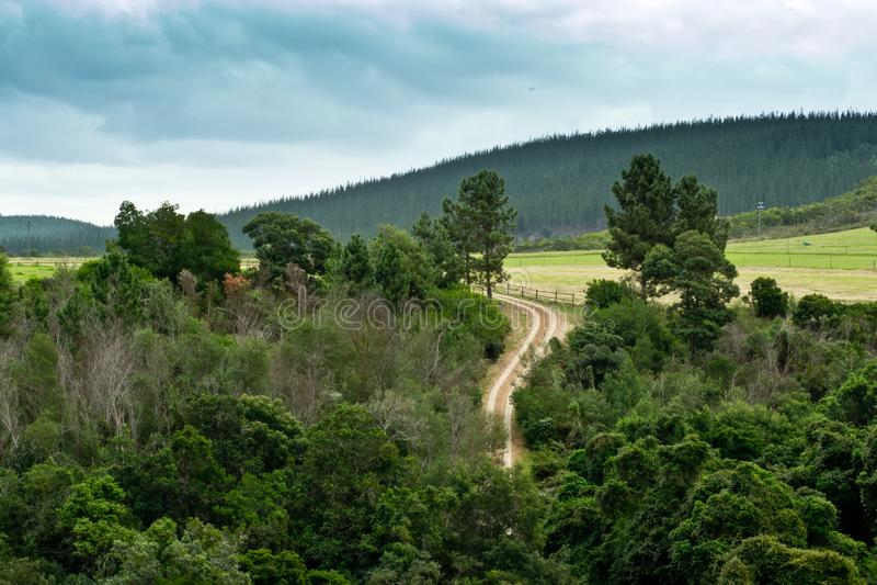 Paesaggio del paese che mostra le montagne e le foreste con la strada campestre di bobina immagine stock libera da diritti