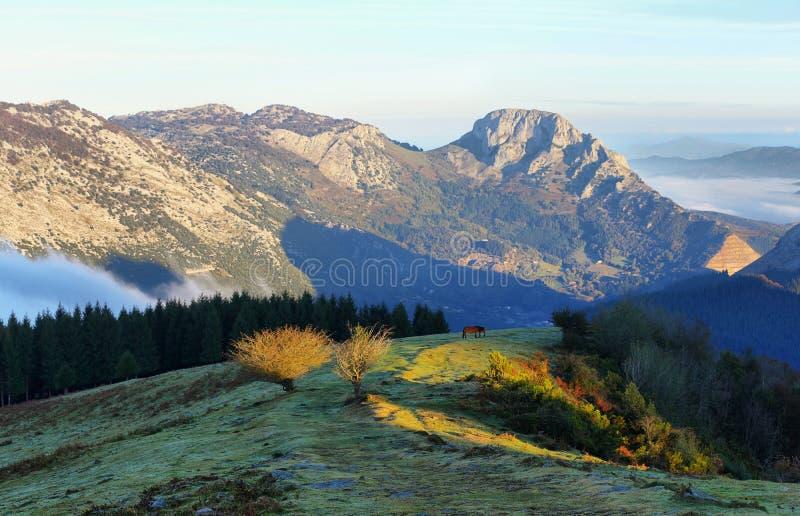 Paesaggio del parco naturale di Urkiola in Spagna fotografia stock