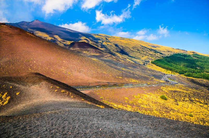 Paesaggio del parco nazionale di Etna, Catania, Sicilia fotografia stock