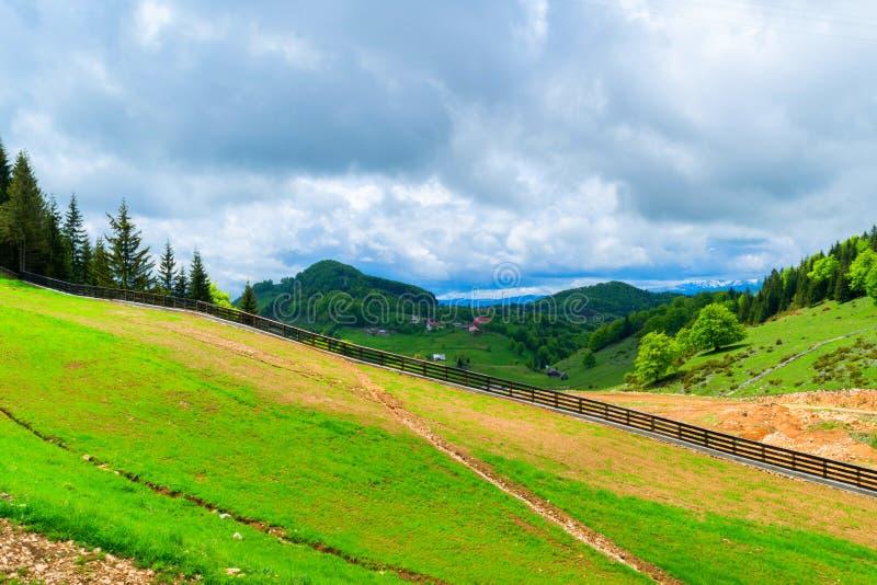 Paesaggio del pascolo della montagna nell'ora legale immagini stock libere da diritti