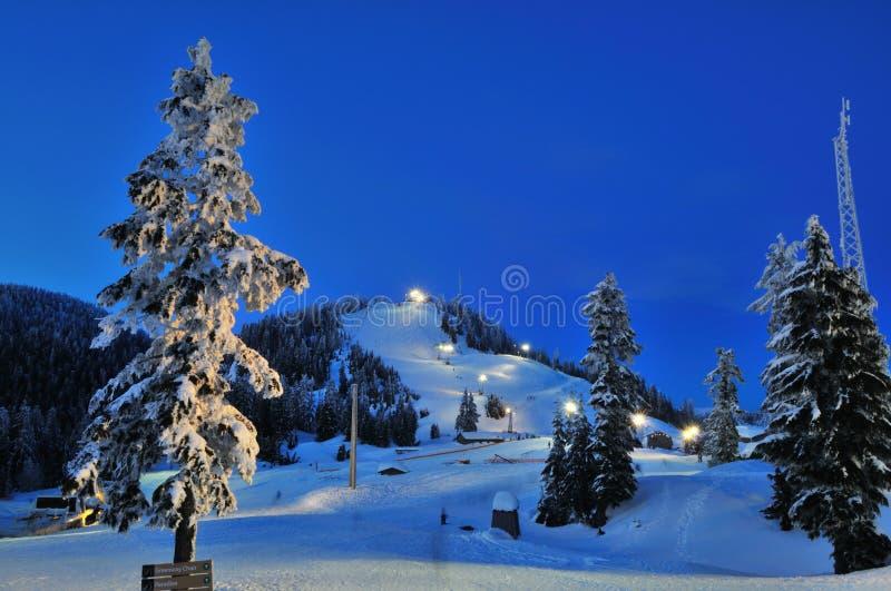 Paesaggio del pattino di notte della montagna di urogallo fotografia stock