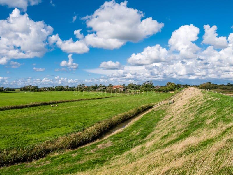 Paesaggio del ploder con la diga, la fattoria ed il terreno coltivabile con la fossa sopra immagine stock libera da diritti