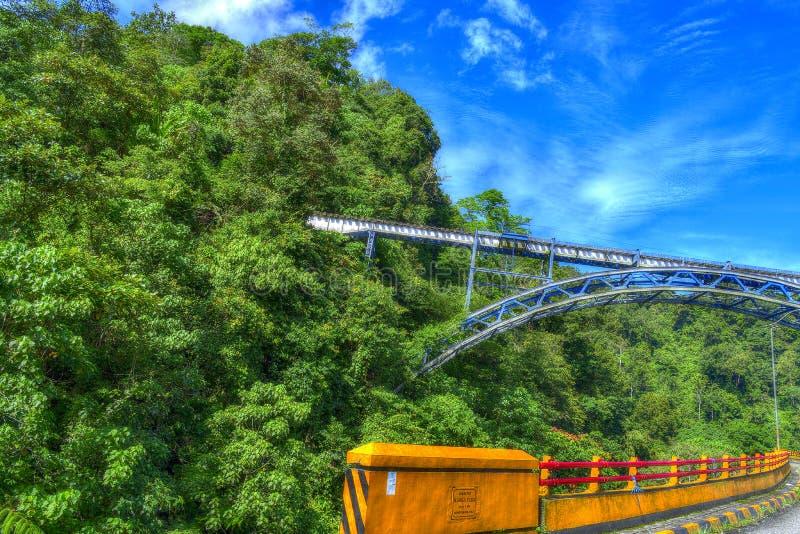 Paesaggio del ponte del treno sebbene la foresta con il recinto ed il cielo blu del ponte dell'automobile fotografie stock