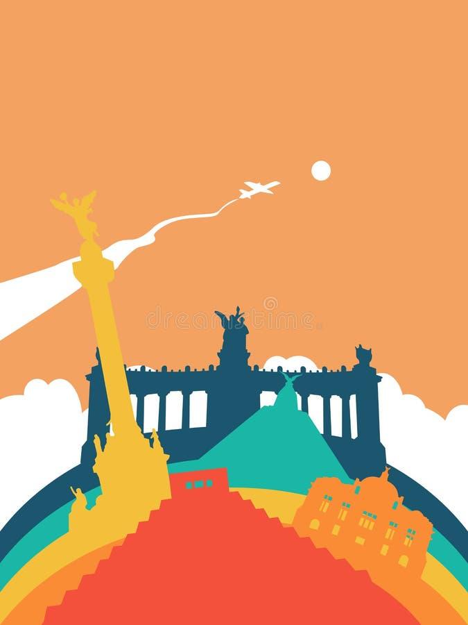 Paesaggio del punto di riferimento del mondo del Messico di viaggio royalty illustrazione gratis