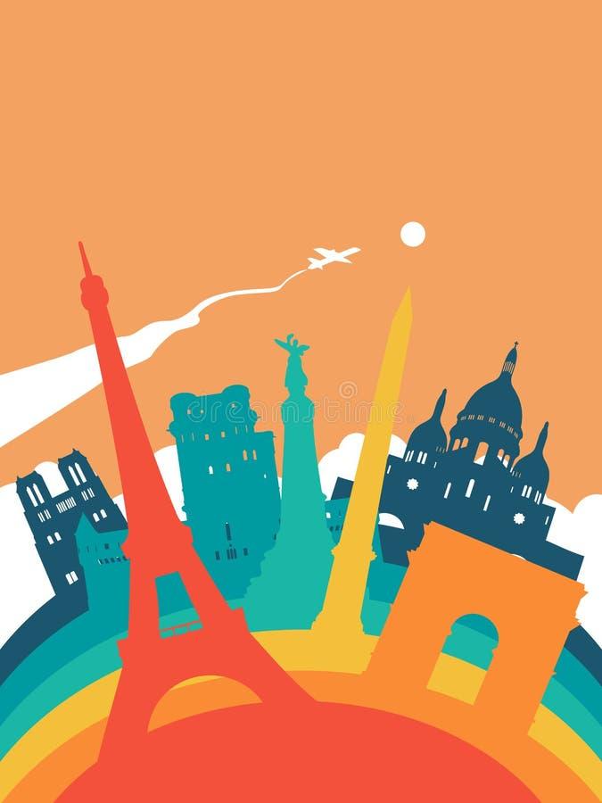 Paesaggio del punto di riferimento del mondo della Francia di viaggio illustrazione di stock