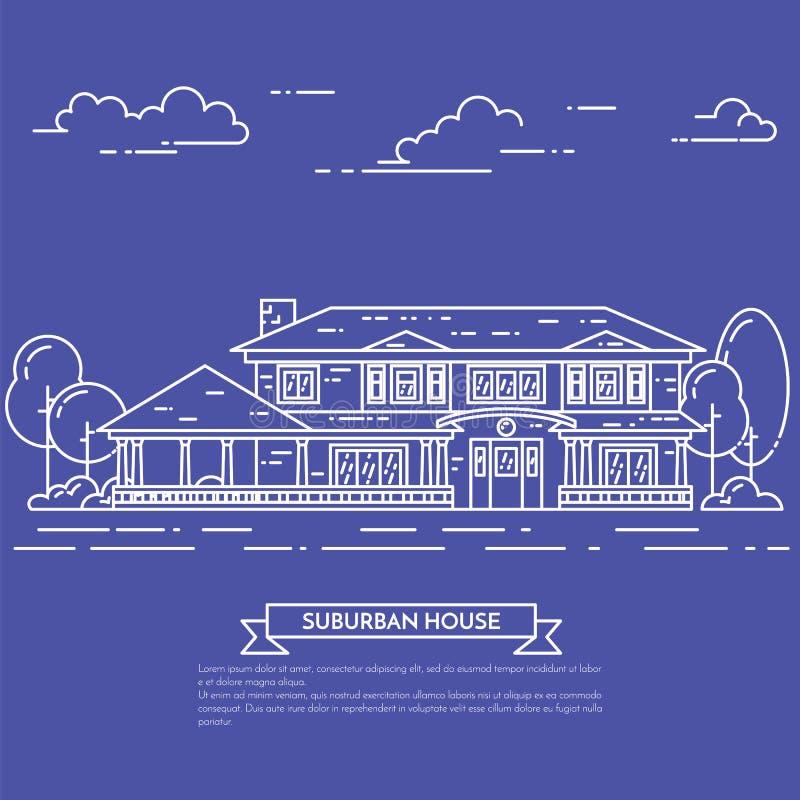 Paesaggio del sobborgo con la casa separata privata, iarda su fondo bianco royalty illustrazione gratis