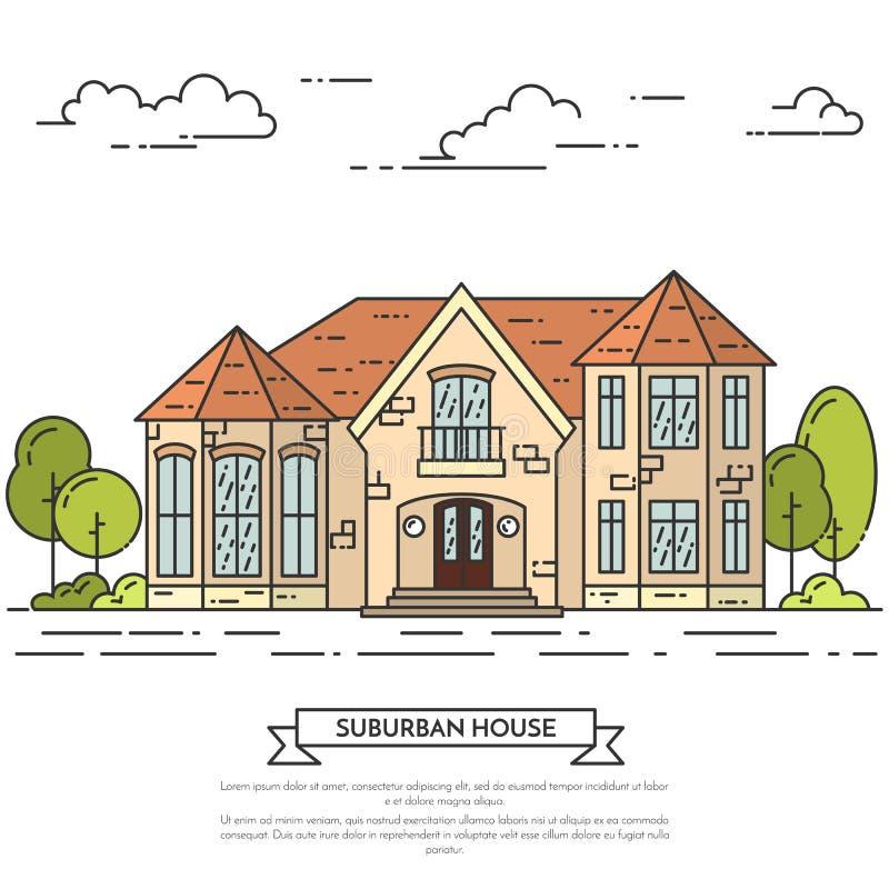 Paesaggio del sobborgo con la casa separata privata, iarda su fondo bianco illustrazione vettoriale